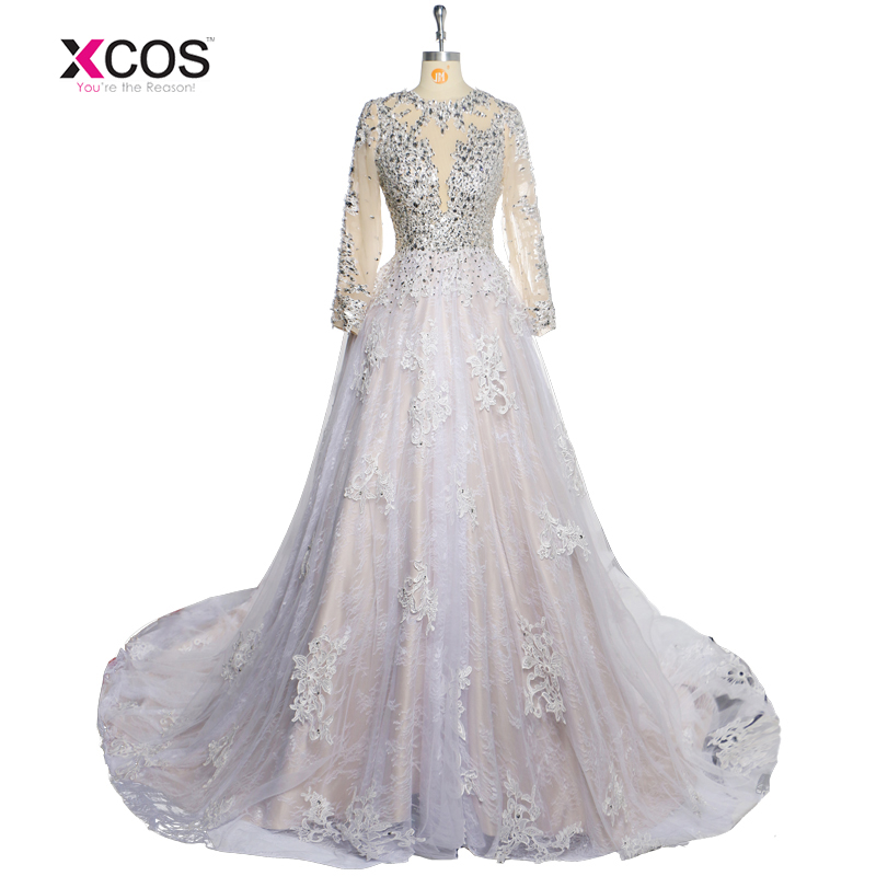Latest 2017 Luxury Beading Long Sleeve Muslim Wedding Gowns With Train Sequined Lace Dresses Turke Robe De Mariage