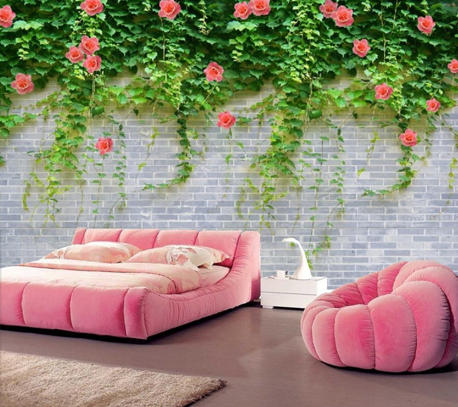 Custom large murals papel de parede,Brick background green leaves and red flowers,living room sofa tv wall bedroom 3d wallpaper custom large murals 3d cartoon panda papel de parede living room sofa tv background children bedroom wallpaper for walls 3 d