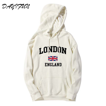 DAYIFUN New Autumn British flag print sweatershirts pink Hooded Womens Long Sleeve Loose Hoodies casual Hooded hoodies WT023 hooded colorful stripe print long sleeve patterned hoodies