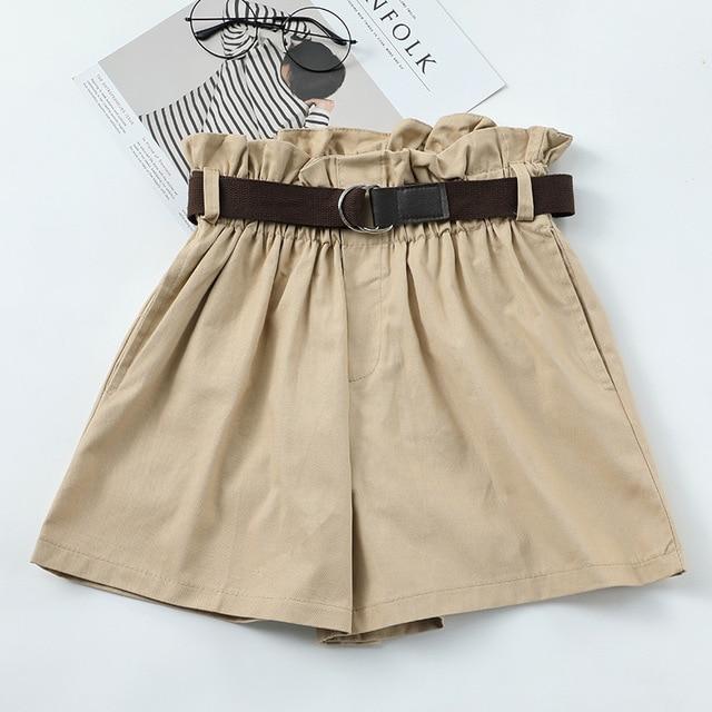Korean Simple Solid Summer Shorts With Belt 2020 Loose High Waist Slim Loose Green Shorts Women Black Paperbag Shorts 6
