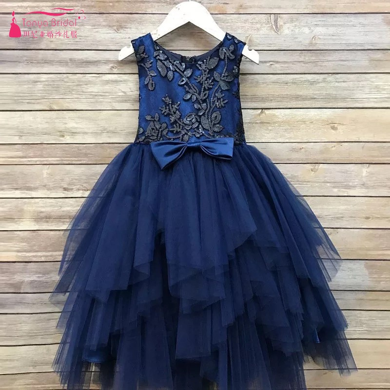5-11 Sleeveless Sequined   Flower     Girls     Dresses   Tulle Purple Wedding Party   Dress   Kids Pageant Formal Occasion Prom Gown DQG429