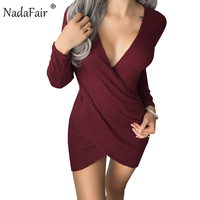 Nadafair V Neck Long Sleeve Criss Cross Cotton Knitted Autumn Women Dress Sexy Club Bodycon Bandage