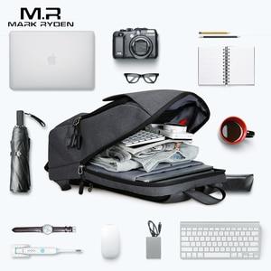 Image 3 - Mark Ryden adam sırt çantası USB şarj 15.6 inç dizüstü okul çantası erkek için erkek seyahat Mochila su geçirmez