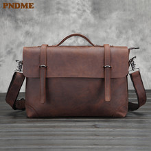 PNDME vintage business simple high quality crazy horse cowhide genuine leather office mens briefcase laptop bag messenger bags