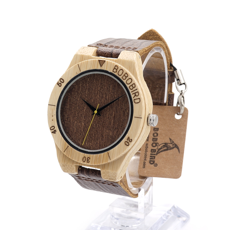 ФОТО BOBO BIRD E14 Bamboo Watches for Men Handmade Wood Watch with Wood Grain Leather Watches 3Bar Water Resistant Waterproof Watch