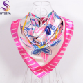 New Sweet Cartoon Silk Scarf Shawl 2016 Fashion Accessories Ladies Children Satin Scarves Spring Autumn All-Match Pink Scarves