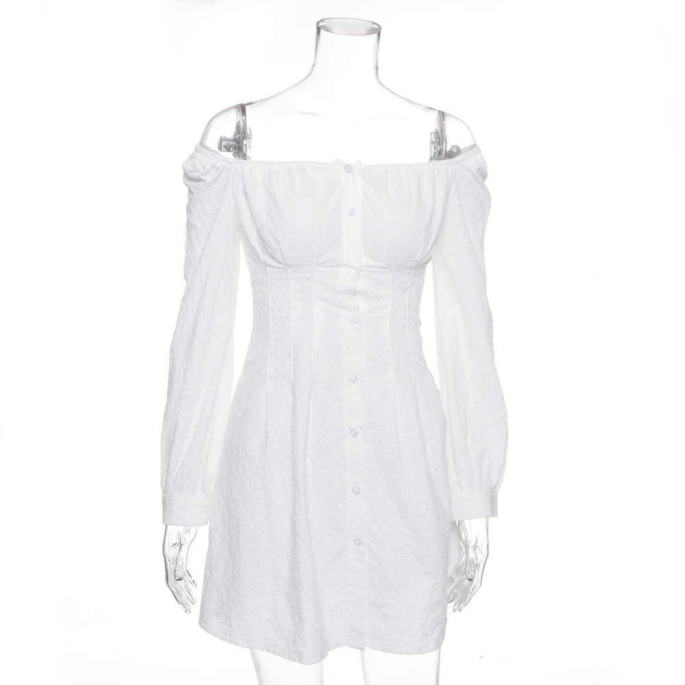 COSYGAL с открытыми плечами сексуальные белые платья женские кружевные платье с рукавами-фонариками Женские Короткие вечерние платья для ночного клуба Robe Femme