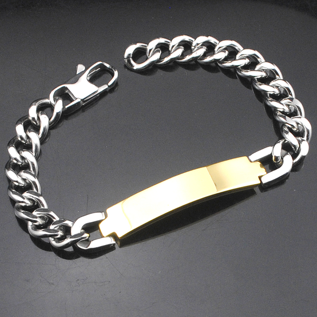 AMUMIU Factory Price!! Men's ID Bracelet 316L Stainless Steel Gold Color Bracelet For Men Wholesale HZB003