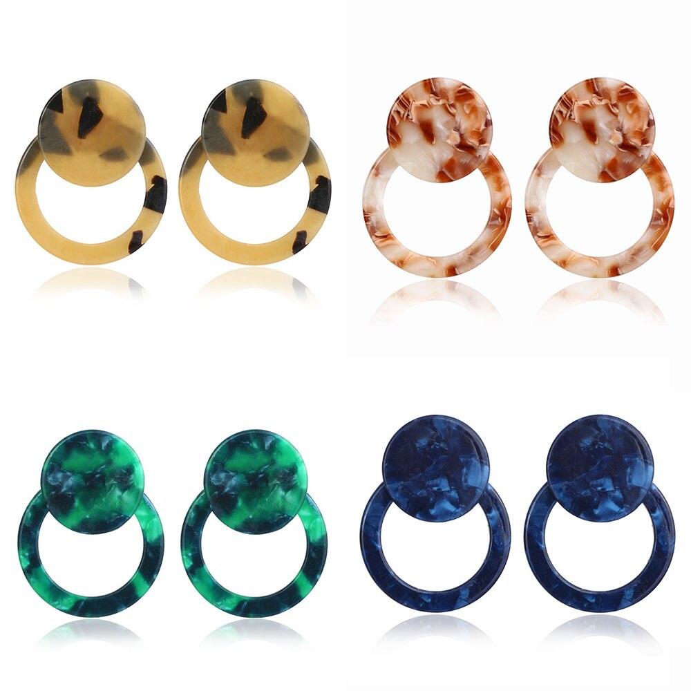 Acrylic Drop Dangle Bohemian Earrings 19 Big Statement Earrings for Women Resin Oval Square Geometric Boho Earrings Jewelry 8