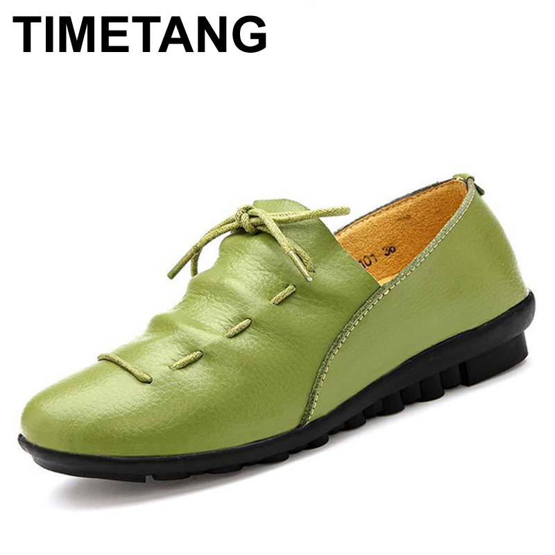 TIMETANG Four Seasons New Leather Straps Soft - Soled Shoes Women s Singles Young Women S Students Casual Slippers Peas Shoes
