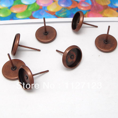 100pcs Stud earring post with 8mm round cabochon setting Antique copper metal earring blank base tray findings accessories