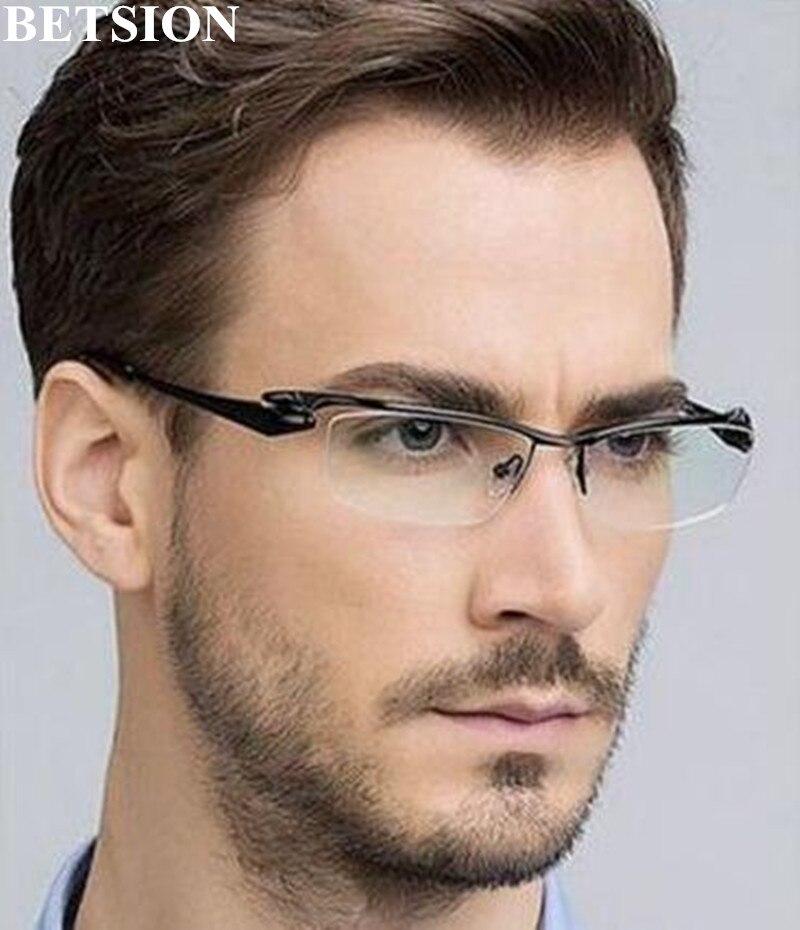 Luxury Pure Titanium Black Reading Glasses Half Rimless +50 +75 +100 +125 +150 +175 +200 +250 +3 +350 +375 +400 +425 +450 +475