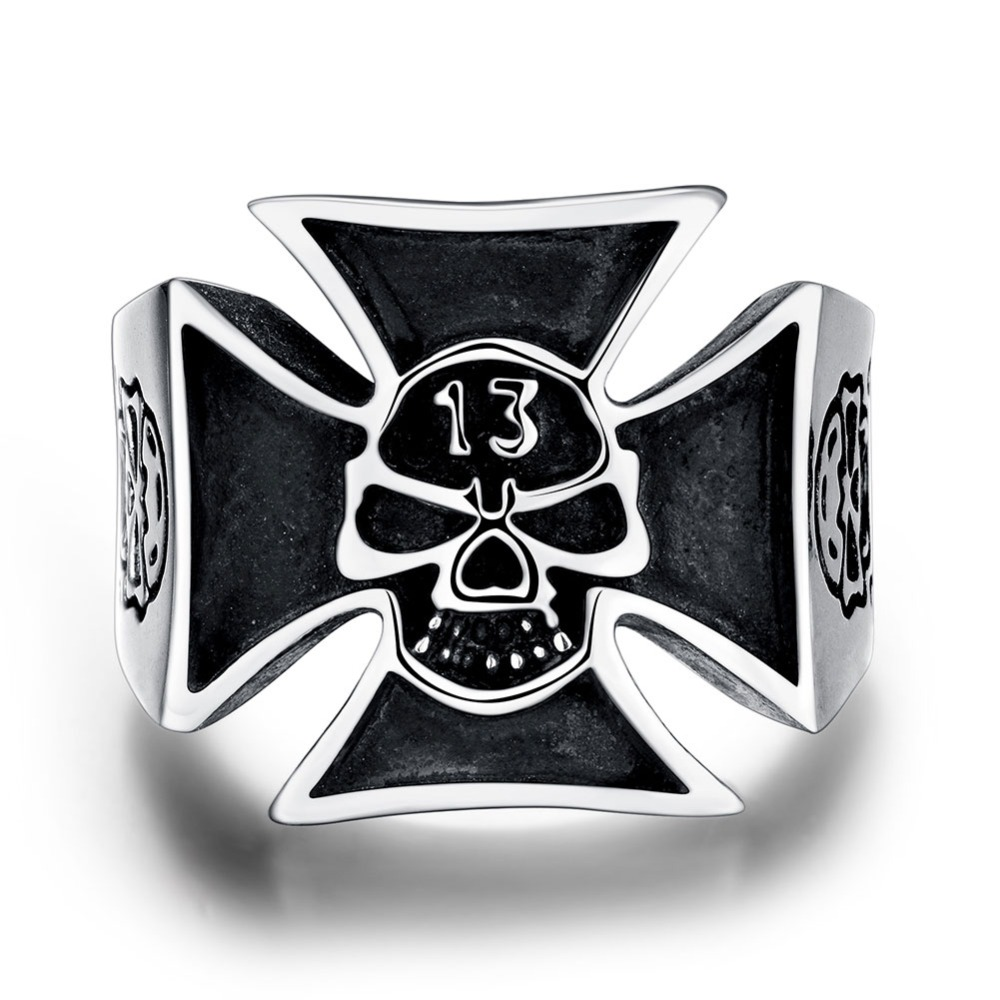 Hot 316L stainless steel cross skull finger ring size 8-12 # personality cool punk street style jewelry for men Top quality R218