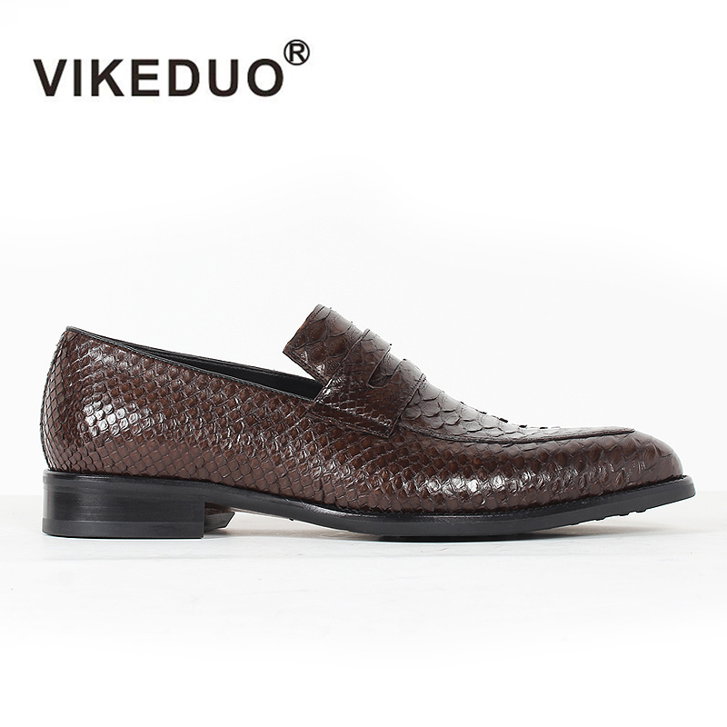 2019 Vikeduo Classic Custom Handmade Mens Loafer Shoes Genuine Snakeskin Slip-on Fashion Causal Dress Party Original Design