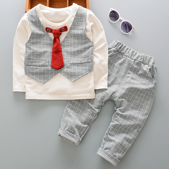 cb8a4cc08606 DIIMUU 2PC Kids Baby Boy Gentlemen Clothing Outfits Toddler Boys Wedding  Party Suits Fake Two Piece Pullover Cotton Sets