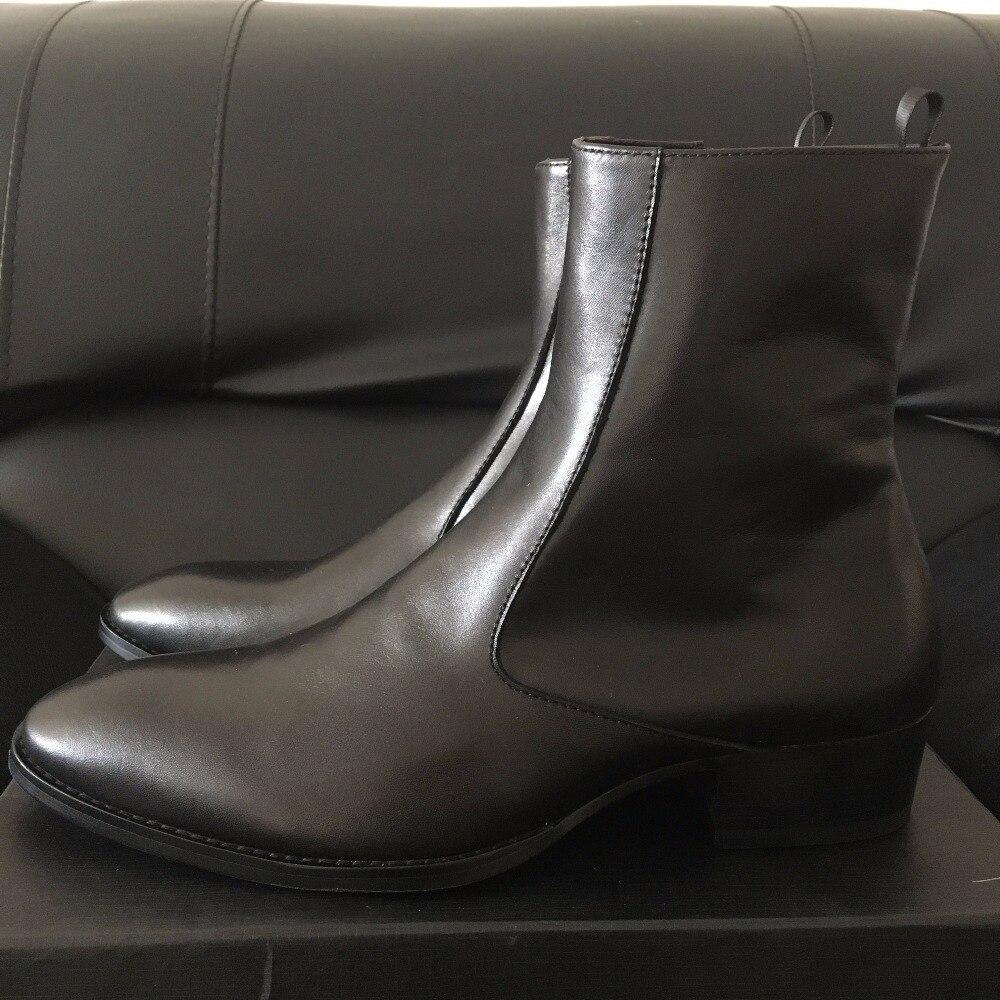 حقيقية الجلود الفاخرة عالية أعلى اليدوية إسفين هاري البني سستة الرجال الأحذية مدببة الأصابع ضئيلة عالية الأحذية الصورة الحقيقية-في أحذية برقبة أساسية من أحذية على  مجموعة 1
