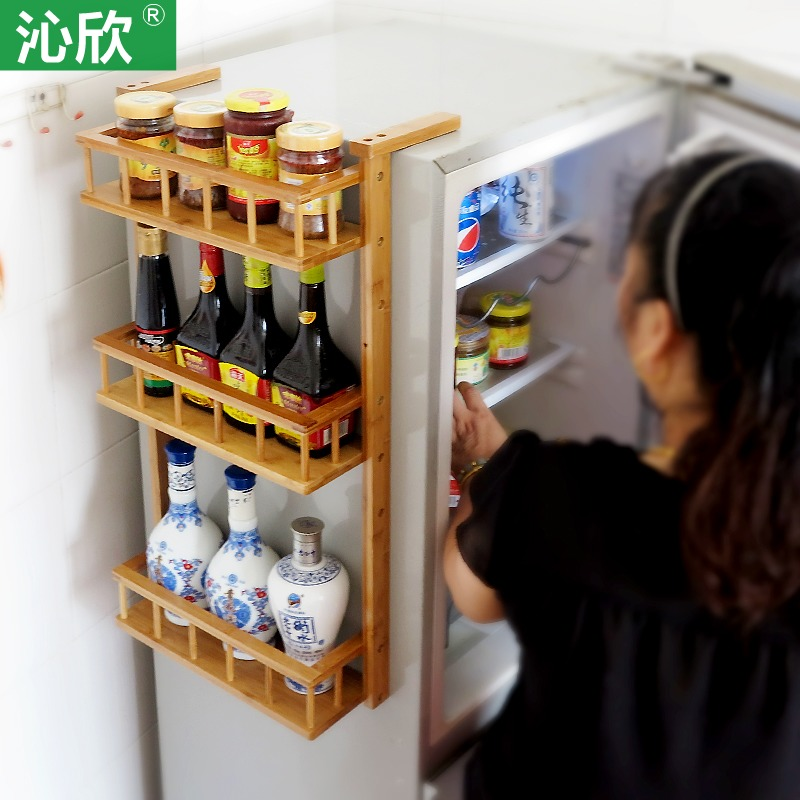 seasoning rack kitchen refrigerator shelving wall shelving multilayer bamboo wood shelf Jiaojia