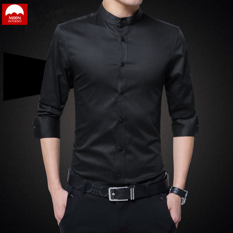 MOON Brand 2019 New Men Shirts Business Long Sleeve Stand Colla Collar Cotton Male Shirt Slim Fit Popular Designs CS-004