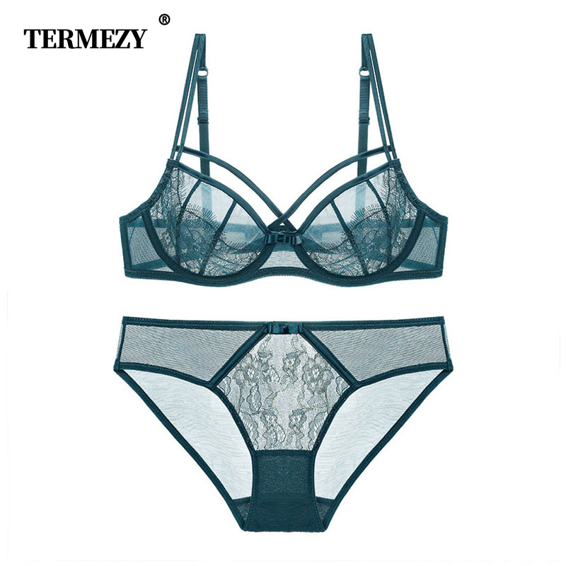 TERMEZY Hot Women lingerie   set   ultra thin   bra     set   Sexy Lace Underwear victoria Transparent Bralette   set   Women   Bra   Panties   Set