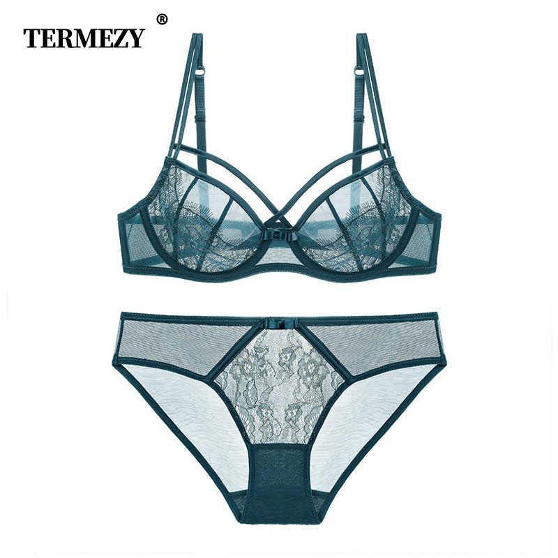 TERMEZY Nóng Nữ bộ đồ lót ren siêu mỏng Bộ áo ngực Ren Quần Lót victoria Trong Suốt Áo Bralette Bộ Nữ Áo Bra Quần Lót Bộ