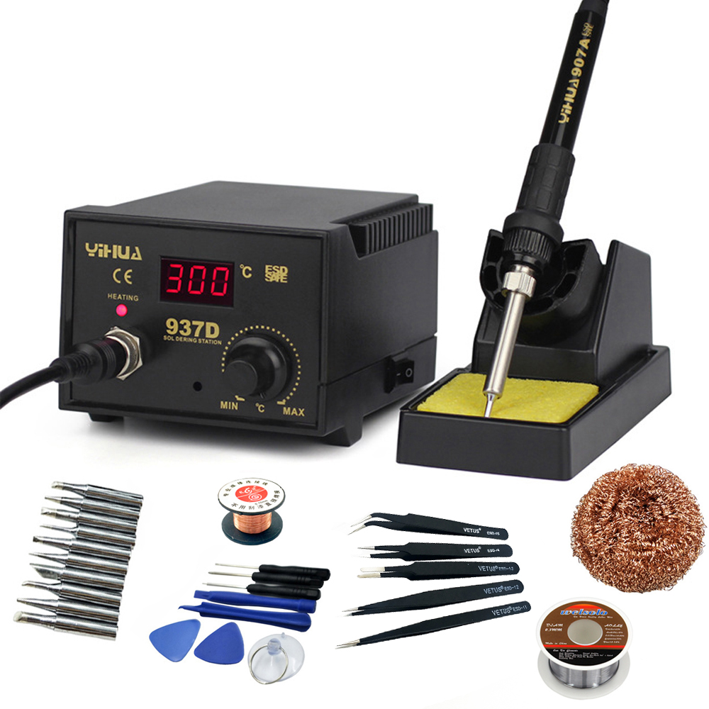 YIHUA 937D High Quality 110V 220V 45W Temperature Control Digital Soldering Station Rework Stations Pluggable Hot