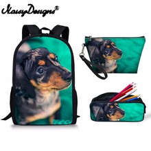 Dachshund Printing New School Backpack Set Fashion For Women Makeup Beautiful Bag Student Shoulder Backpack Pencil 3pcs Girl Boy female student bag 3 piece set suitable for school teen boy shoulder bag 2019 fashion girl usb charging backpack set