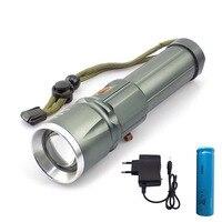 슈퍼 밝은 l2 led 손전등 플래시 램프 토치 조정 가능한 줌 초점 lanterna 18650 충전식 배터리 ac 충전기