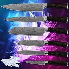 Top verkauf 7CR17 edelstahl 3,5, 5, 7, 8 zoll küchenmesser sechs-teilig damaskus adern durable sharp new kochen werkzeuge