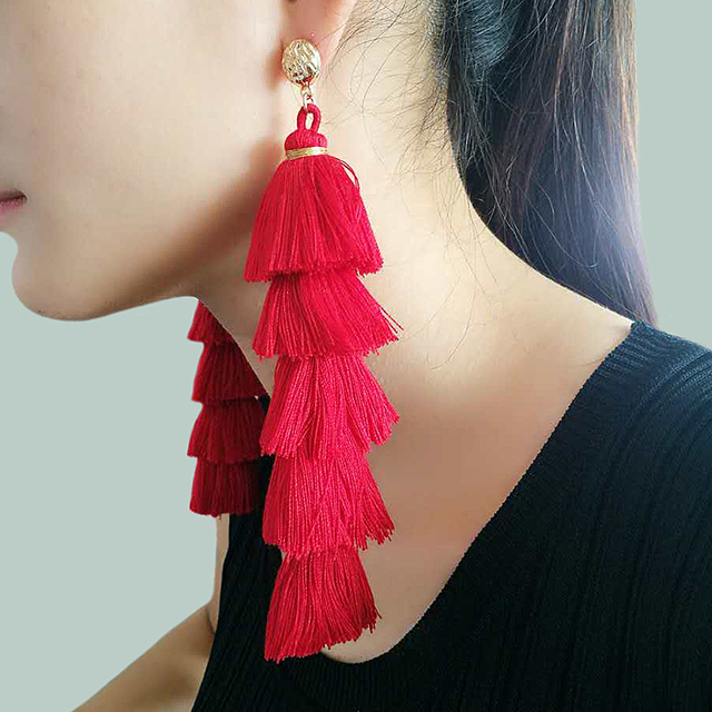 Cotton Layered Tassel Earrings