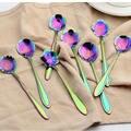 8 шт./компл. кофейная ложка в форме цветка из нержавеющей стали  милый чай  мороженое  сахар  ложка для столовых приборов  индивидуальные вече...