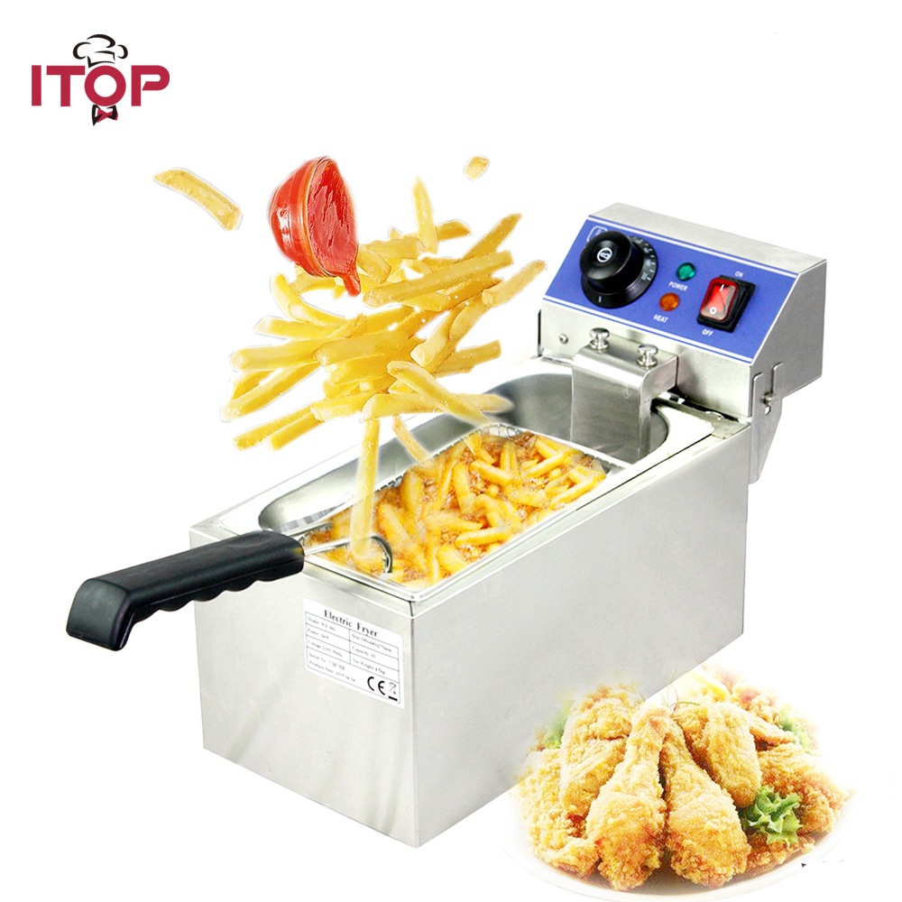 ITOP Commercial Stainless Steel Electric Deep Fryer for Churros French Fries Chicken Twister Spiral Tornado Potato 220V 220v 12l electric deep fryer for spiral potato twister potato tornado potato fry potato churros chicken
