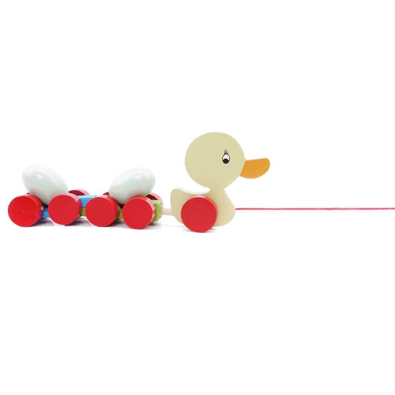 Kreatif Anak-anak Kayu Trailer Awal Cewek Teka-teki Hewan Ditarik Gerobak Mainan Anak Ayam/Bebek dan Telur Mainan Mobil