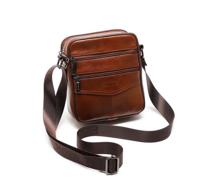 ONEFULL genuine leather shoulder bag men vintage small satchel flap male leather multi zipper business casual bag shoulder bags