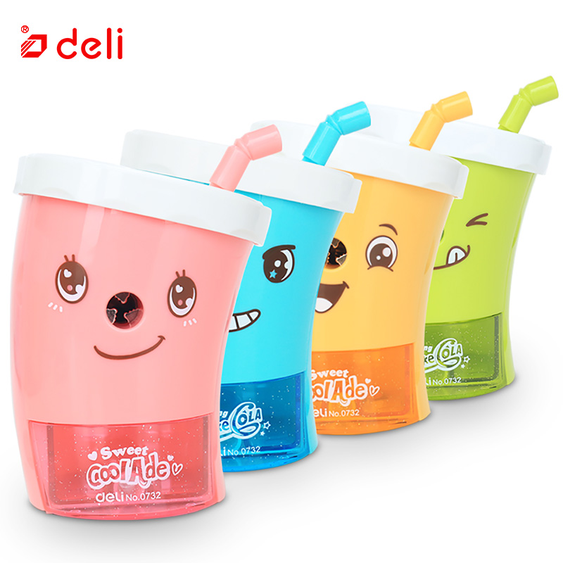 Deli Stationery pencil sharpener Mechanical cartoon Kawaii pencil sharpener cute Pencil sharpener office & school supplies 10pcs diameter 57 60mm 2mm hole 4 blade propeller plastic blades toy accessories diy model accessories technology model parts