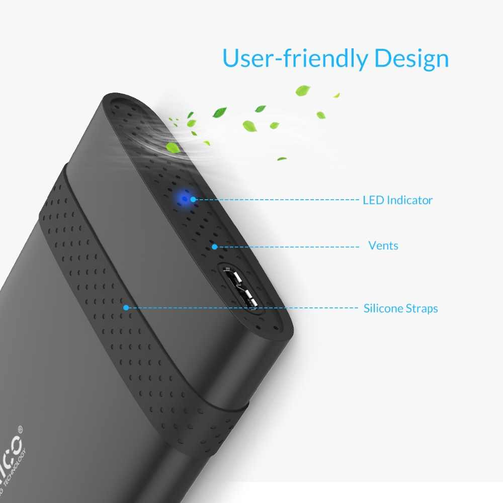 ORICO 2.5 inç USB3.0 sabit Disk kutusu HDD muhafaza Notebook için 2TB HDD aracı ücretsiz