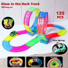 Glow race track 360 loop Bend Flex Glow in the Dark Flexible Assembly Track with twinkling light Race Vehicle Educational toys
