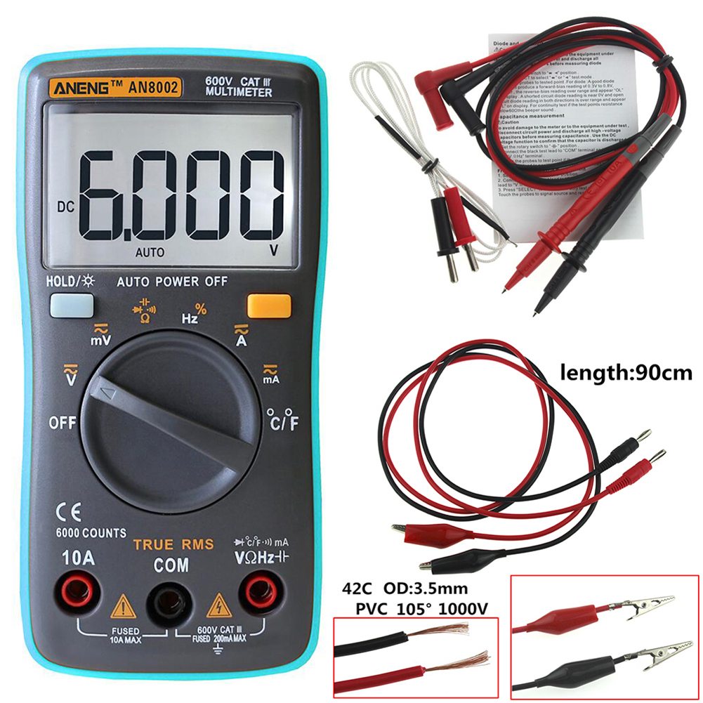 ANENG AN8002 Digital Multimeter 6000 zählt Hintergrundbeleuchtung AC/DC Amperemeter Voltmeter Ohm Tragbare Meter Mit 90 cm kabel blei