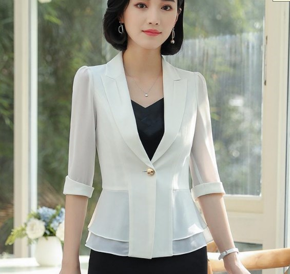 Women Black White Slim Blazer Business Summer Formal Short Sleeve Jackets Office Ladies Plus Size 4XL 5XL Work Wear Clothes