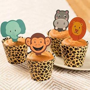 Image 2 - WEIGAO Boy Birthday Cake Decor Zoo Monkey Lion Jungle Party Cake Toppers Safari Birthday Theme Cupcake Wrappers Cake Flags Decor