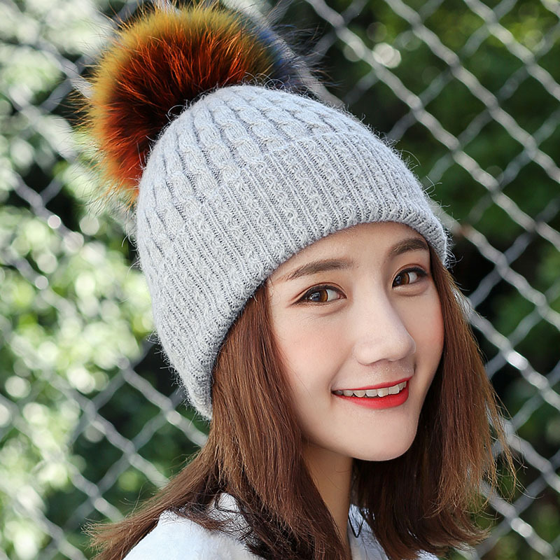 New arrival winter hats women fashion colorful hair ball caps thicken knitted beanie ears warm skullies gorros mujer invierno 4pcs new for ball uff bes m18mg noc80b s04g