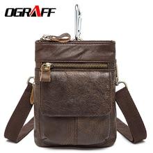 OGRAFF Genuine Leather Men Waist Bag small Handy Male Pouch Belt Purse Bag Phone Bum Waist Pack mini men shoulder bag 2017