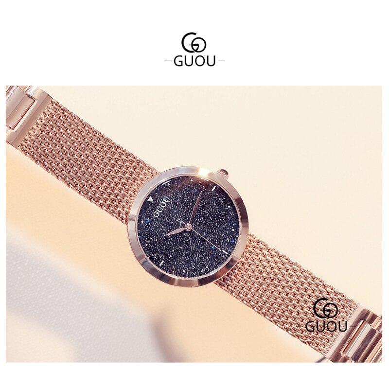 GUANQIN GS19051 Top Nova Marca de Relógios Das Senhoras Das Mulheres relógio de Pulso À Prova D' Água com Céu Preto Dial e Pulseira de Couro - 4