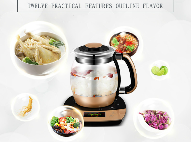 Fully automatic thickened glass multi-function electric heating kettle flower pot boiling tea ware Anti-dry Protection health raising pot fully automatic thickened glass multi function tea ware mini body electric heating kettle ware