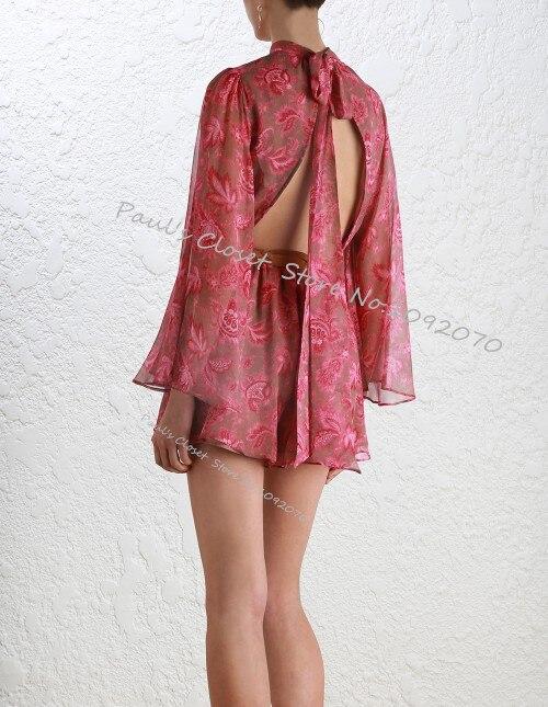 Women Karmic Flare Sleeve Playsuit High Neck Collar Center Back Tie Paisley Chintz Printed Silk Georgette