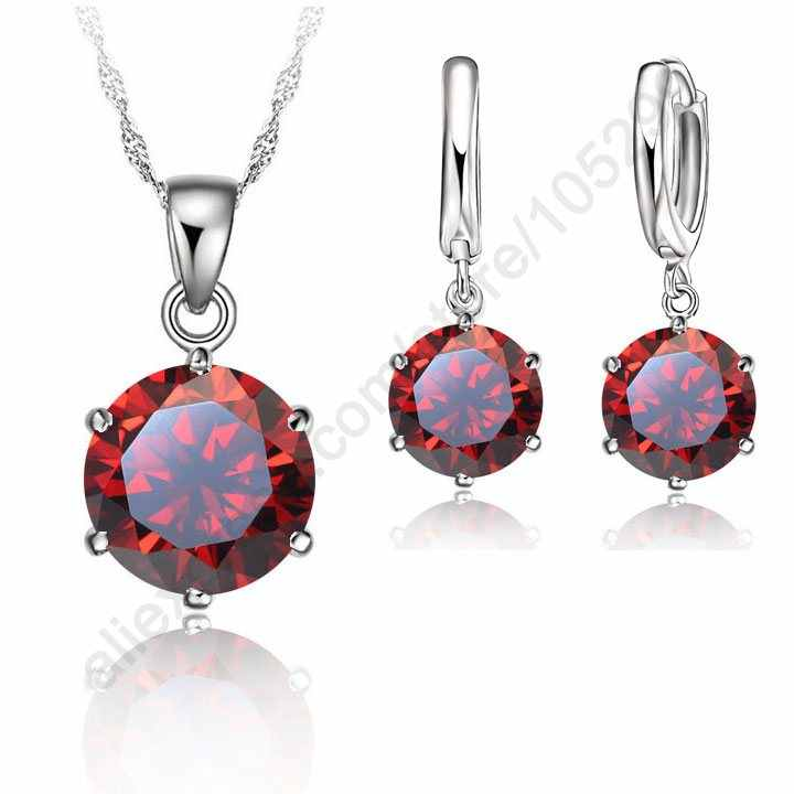 Woman 925 Sterling Silver Wedding Jewelry Set Cubic Zircon Crystal Lever Back Earrings Pendant Necklace Nice Gift Stone