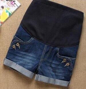 Летние Короткие джинсы для беременных; повседневные шорты для беременных; одежда с регулируемой талией; простые тонкие женские брюки для ухода за животом - Цвет: blue 3