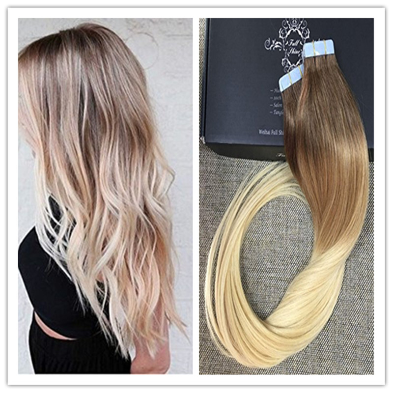Full shine 2016 balayage ombre tape hair human glue hair full shine 2016 balayage ombre tape hair human glue hair extensions european long thick end dip dyed ombre hair color 38613 in skin weft hair extensions pmusecretfo Gallery