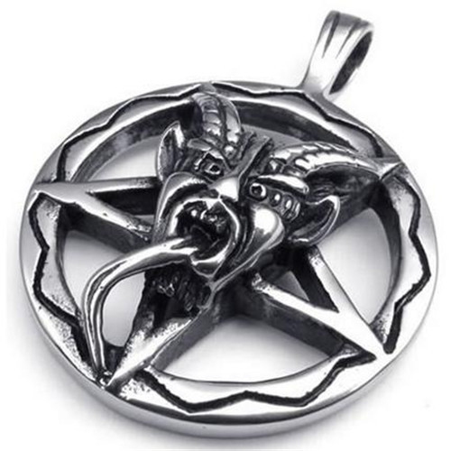 Stainless steel baphomet inverted pentagram pendant mens necklace in stainless steel baphomet inverted pentagram pendant mens necklace in pendants from jewelry accessories on aliexpress alibaba group aloadofball Choice Image