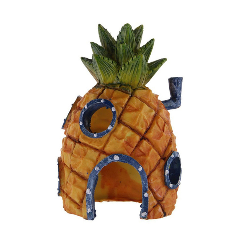2017 Mini For SpongeBob & Squidward House Style Pineapple Cartoon House Home Fish Tank Aquarium Ornament Decorations Escape Hole