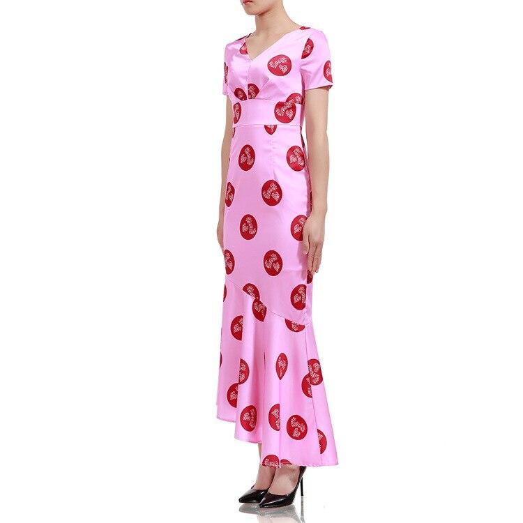 2018 vente soie courte femmes robe Vadim 2019 femmes robe d'été nouvelle impression V taille haute Slim européenne et américaine queue de poisson.
